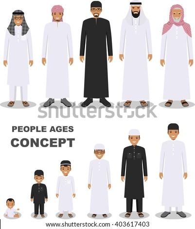 All age group of arab man family. Generations man. Stages of development people - infancy, childhood, youth, maturity, old age. Arab people generations at different ages isolated in flat style. - stock vector