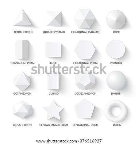 All basic 3d shapes template. Realistic with shadow. Perfect for school, study, designers - stock vector