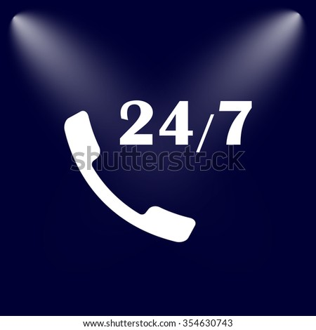 All-day customer support call-center. Flat icon - stock vector