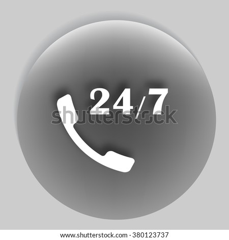 All-day customer support call-center. Flat vector eps10 icon - stock vector