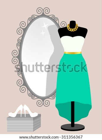 All occasion green skirt and white top in front of decorative vintage frame mirror. Woman wardrobe accessories set, dress on mannequin, necklace and high heel shoes. vector art illustration, isolated - stock vector