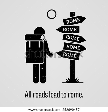 All Roads Lead to Rome - stock vector