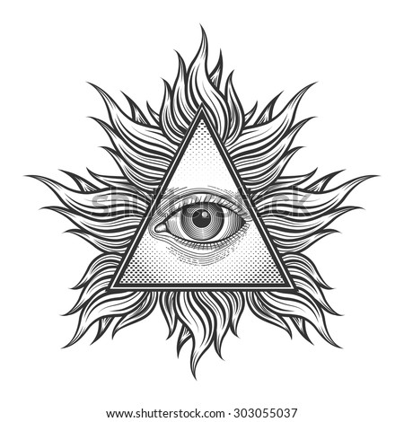 All seeing eye pyramid symbol in the engraving tattoo style. Freemason and spiritual, illuminati and religion, triangle magic, vector illustration - stock vector