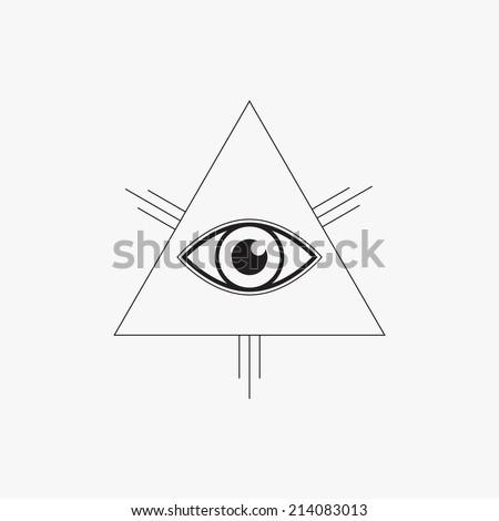 All seeing eye symbol, line design, vector illustration - stock vector