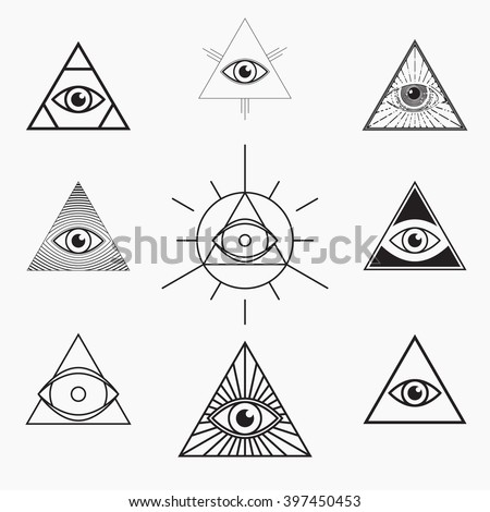 All seeing eye symbol, vector set - stock vector