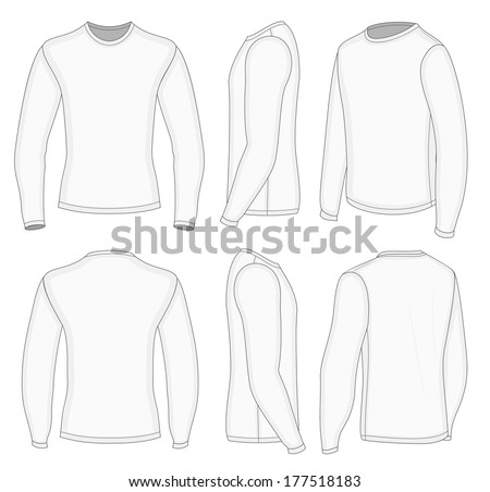 All six views men's white long sleeve t-shirt design templates (front, back, half-turned and side views). Vector illustration. - stock vector