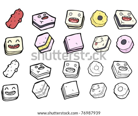 all sorts sweets cartoon collection - stock vector