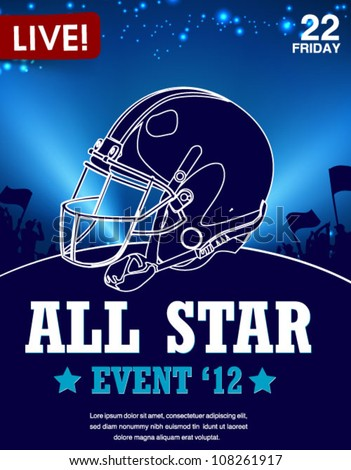all-star football game poster - stock vector