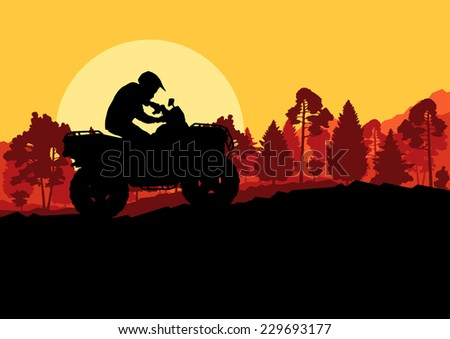 All terrain vehicle quad motorbike rider in wild nature forest mountain landscape background illustration vector - stock vector