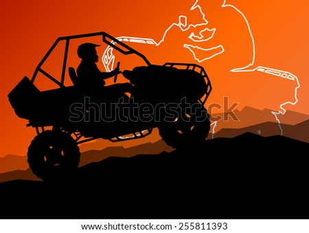 All terrain vehicle quad motorbike riders in wild nature abstract mountain landscape background illustration vector - stock vector