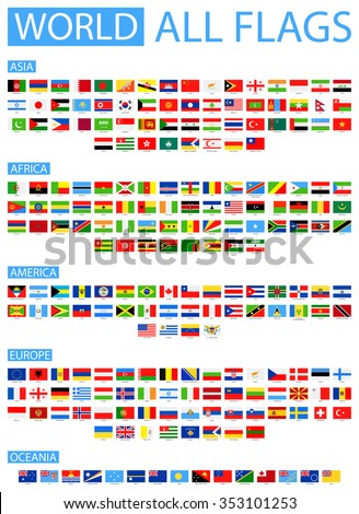 All World Vector Flags - Vector Collection Sorted by Continents - stock vector