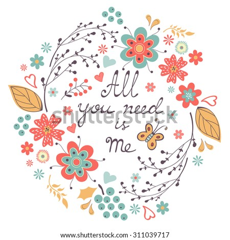 All You need is Me Love concept Vector illustration - stock vector