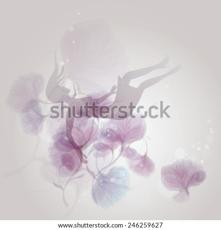 Allegory of FALL IN LOVE / Woman Silhouette falls in flowers - stock vector