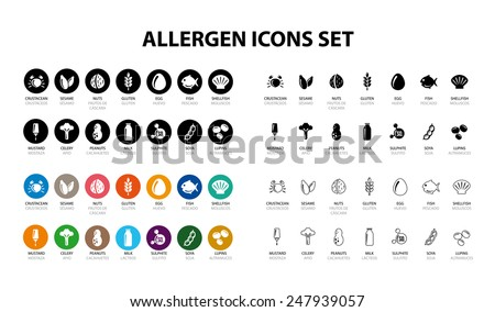 Allergen Icons - stock vector