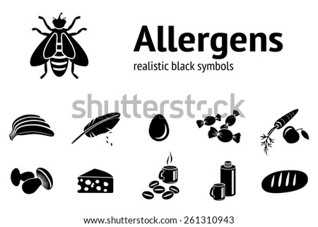 Allergen set. 11 realistic icons from typical food and common allergens. Vector - stock vector