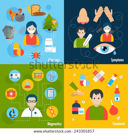Allergies design concept set with allergens symptoms diagnostics and treatment flat icons isolated vector illustration - stock vector
