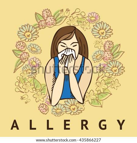 Allergies. Hay fever - stock vector