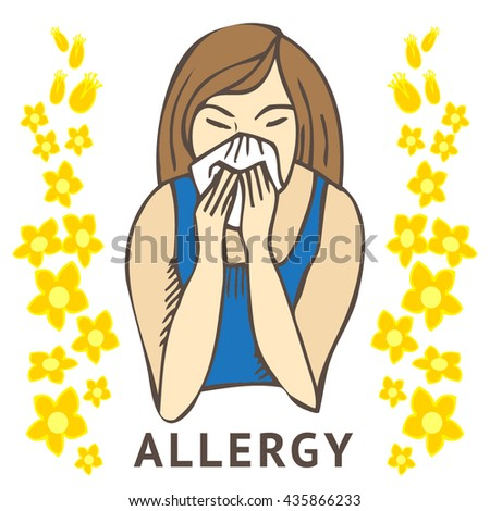 Allergies. Hay fever on white background and yellow flowers - stock vector
