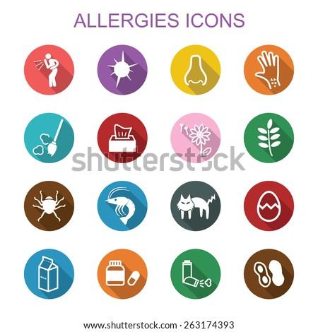 allergies long shadow icons, flat vector symbols - stock vector