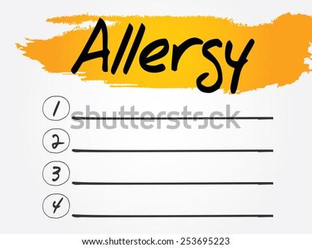 Allergy Blank List, vector concept background - stock vector