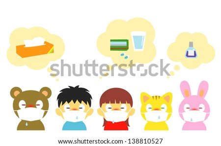 allergy, cold, mask - stock vector