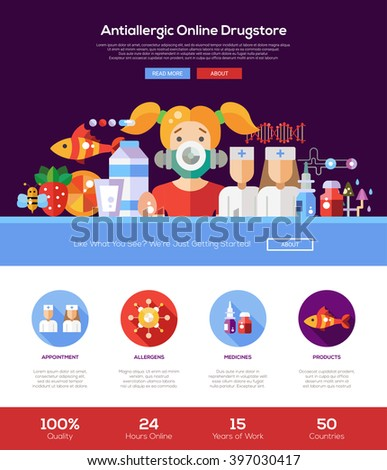 Allergy drugstore online shop web site one page website template layout with thin line design header, banner, icons and other flat design web elements - stock vector