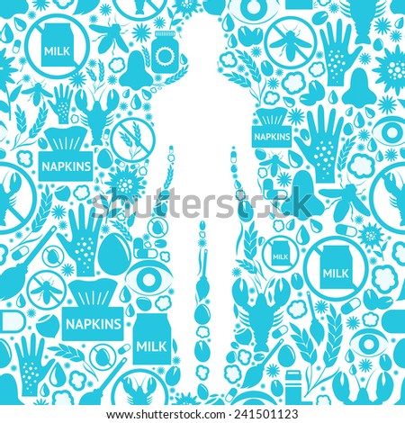 Allergy symptoms background with human silhouette and allergens and medicine symbols vector illustration - stock vector