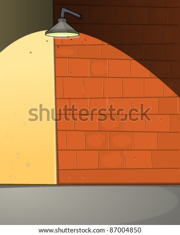 Alley wall with light - stock vector