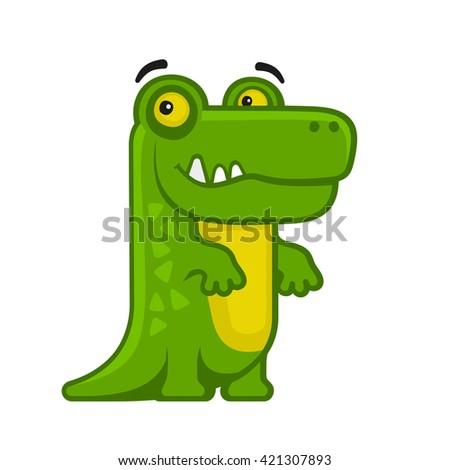 Alligator. Cartoon Style Funny Animal on White Background. Vector illustration - stock vector