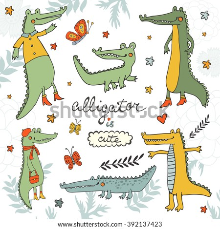 Alligator is cute. Colourful hand drawn set of crocodiles and alligators - stock vector