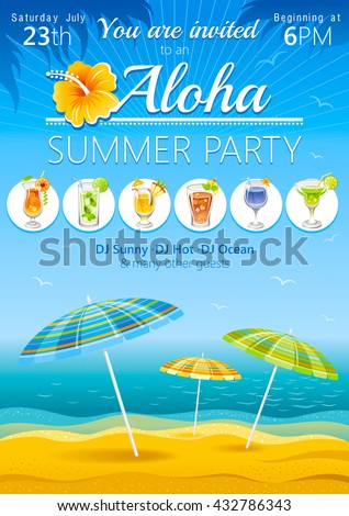 Aloha beach party background with umbrellas and tropical cocktails - stock vector