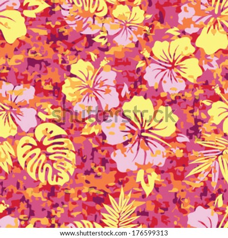 Aloha Hawaiian Shirt Camouflage Seamless Background Pattern  - stock vector