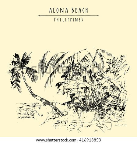 Alona beach, Panglao island, The Philippines, Asia. Hand drawn vintage postcard or poster template in vector - stock vector
