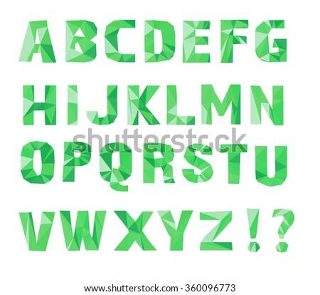 alphabet  A, B, C, D, E, F, G, H, I, J, K, L, M, N, O, P, Q, R, S, T, U, V, W, X, Y, Z. Vector illustration. Lowpoly Font. green color - stock vector