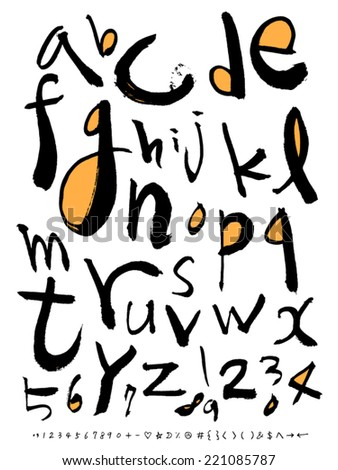 alphabet and number - stock vector
