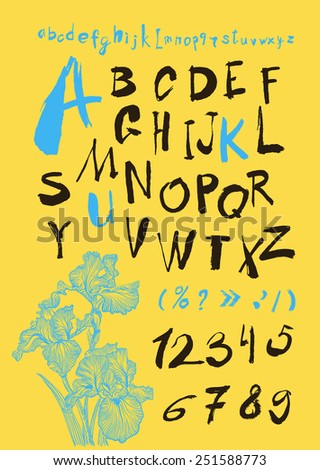 alphabet and numbers hand drawn in vector  Handwritten alphabet - stock vector