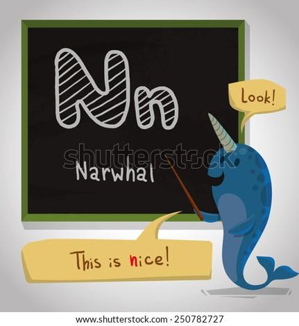 Alphabet Animal, Narwhal, vector - stock vector
