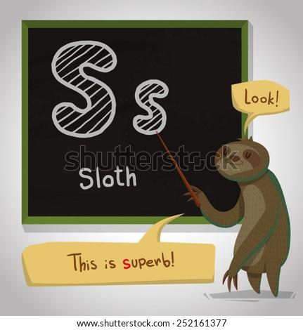 Alphabet Animal, Sloth, vector - stock vector