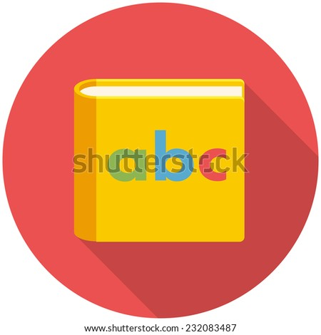 Alphabet book, modern flat icon with long shadow - stock vector