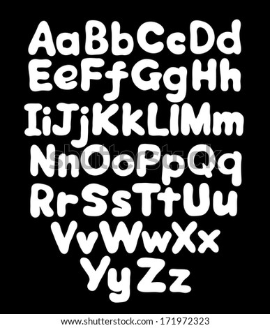 Alphabet bubble hand drawing in black background - stock vector