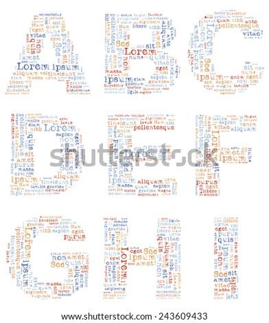 Alphabet capital letters consisting of text Lorem ipsum. EPS-10 - stock vector