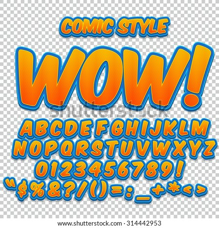 Alphabet collection set. Comic pop art style. Yellow halftone color version. Letters, numbers and figures for kids' illustrations, websites, comics, banners. - stock vector