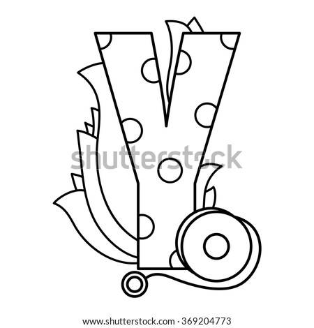 Alphabet coloring page. Vector illustration. - stock vector