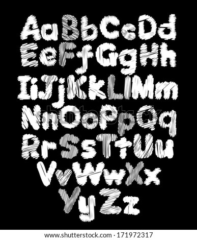 Alphabet doodle hand-drawing in black background - stock vector