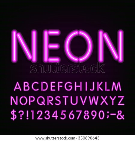 Alphabet Font. Purple neon tube type letters and numbers on the dark background. Vector typeface for labels, titles, posters etc. - stock vector