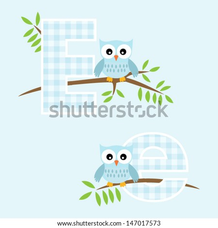 Alphabet for baby boy with owl vector letters E,e.Vector eps10 , illustration.   - stock vector