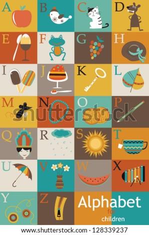 Alphabet for children. Vector illustration - stock vector