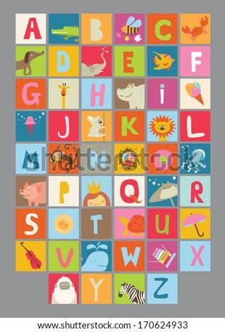 Alphabet for kids - stock vector