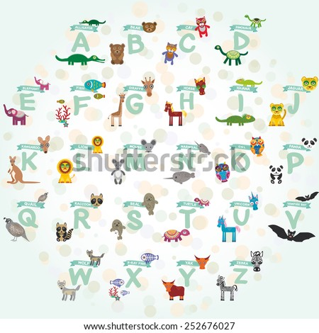alphabet for kids from A to Z. Set of funny cartoon animals character. zoo. Vector - stock vector