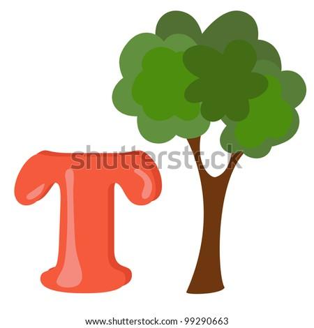 Alphabet for kids, letter o, vector illustration - stock vector